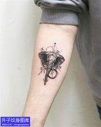 手臂内侧大象纹身