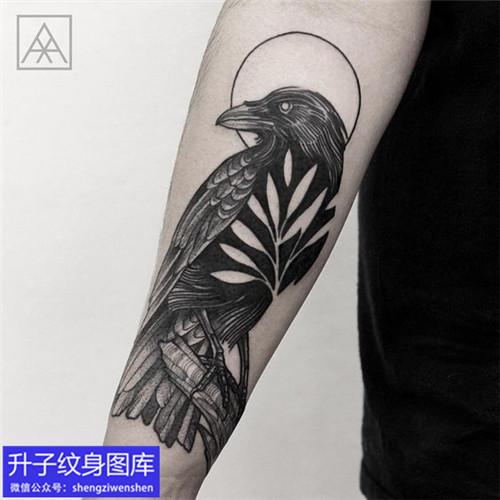 手臂暗黑乌鸦纹身