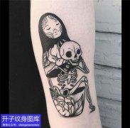 手臂暗黑骷髅头纹身图案