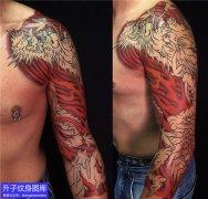七分龙花臂纹身图案