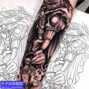 手臂暗黑鸟嘴医生纹身图案