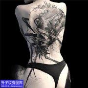 重庆刺青 满背暗黑蜘蛛纹身图片