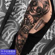 重庆纹身店 欧美黑灰肖像纹身花臂纹身图案