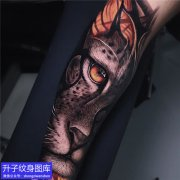 重庆纹身工作室 手臂写实老虎纹身图案