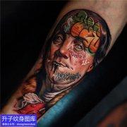 重庆刺青店 手臂彩色欧美写实肖像纹身图案