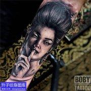重庆刺青店 手臂黑灰肖像纹身图案