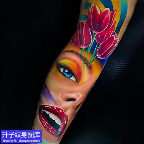 重庆纹身店-手臂彩色写实肖像纹身图案