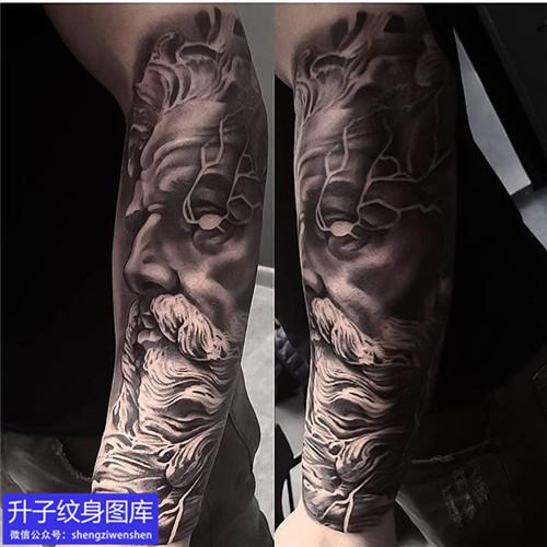 重庆刺青 手臂黑灰波塞冬纹身图案