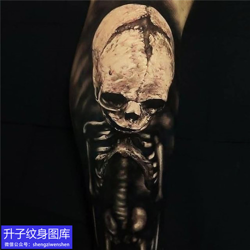 手臂黑灰写实骷髅头纹身图案大全