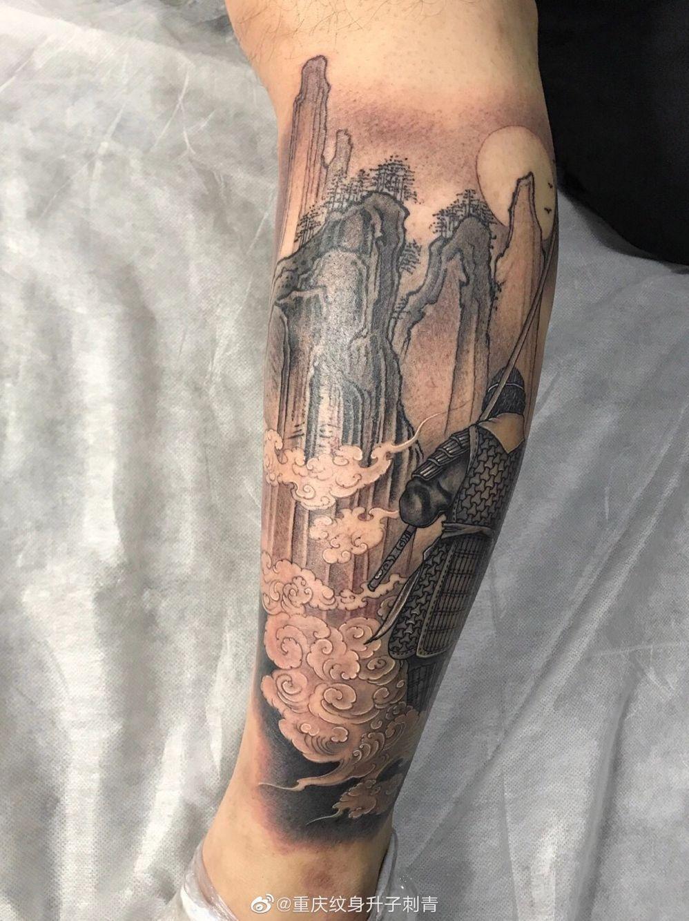 小腿外侧至尊宝纹身图案