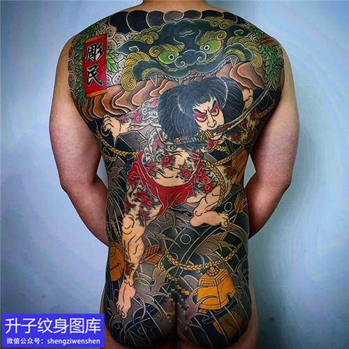 老传统满背张顺破龙门纹身图案