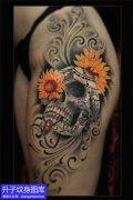 美女大腿骷髅头纹身图案