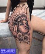 美女大腿外侧印第安美女纹身图案