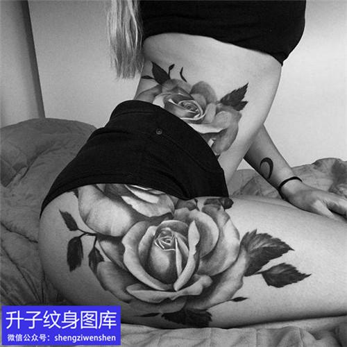 美女大腿玫瑰花纹身图案
