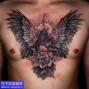 前胸暗黑系列乌鸦纹身图案