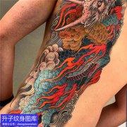 半背传统彩色麒麟纹身图案
