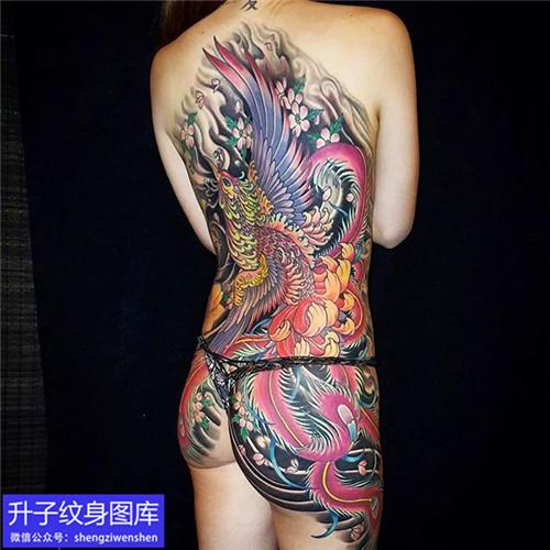 重庆传统彩色满背凤凰纹身图案