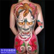 重庆满背彩色般若与蛇纹身图案