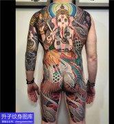 老传统满背象神纹身图案