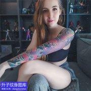重庆彩色凤凰花臂纹身图案