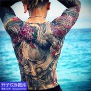 满背般若菊花纹身图案
