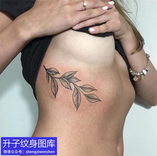 美女胸侧树叶纹身图案