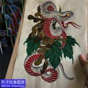 蛇菊花纹身手稿图案