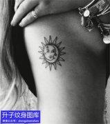 胸侧太阳纹身图案